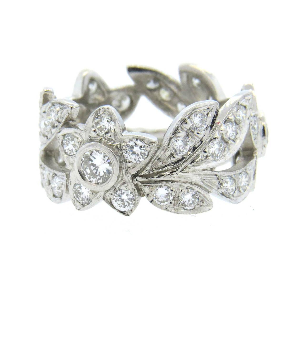 Leaf Band Enement Ring | Diamond Platinum Flower And Leaf Motif Band Ring At 1stdibs