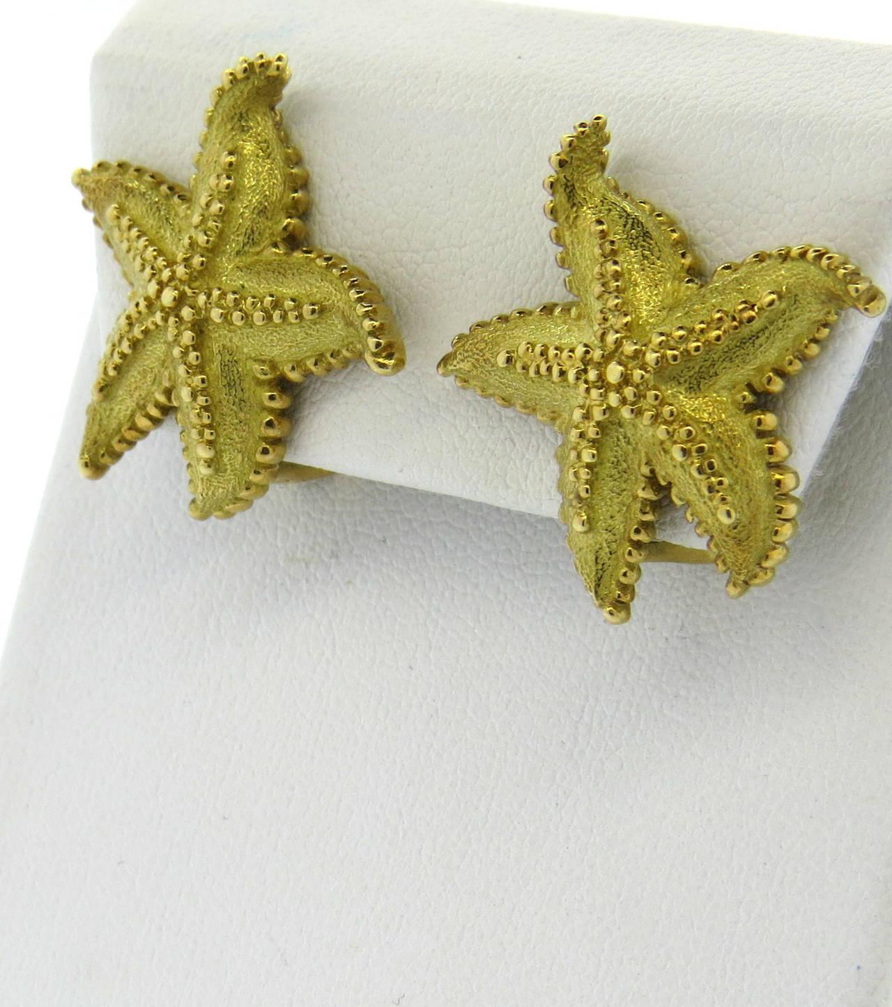 e63e92ed7 ... tiffany co. gold starfish earrings 2 ...