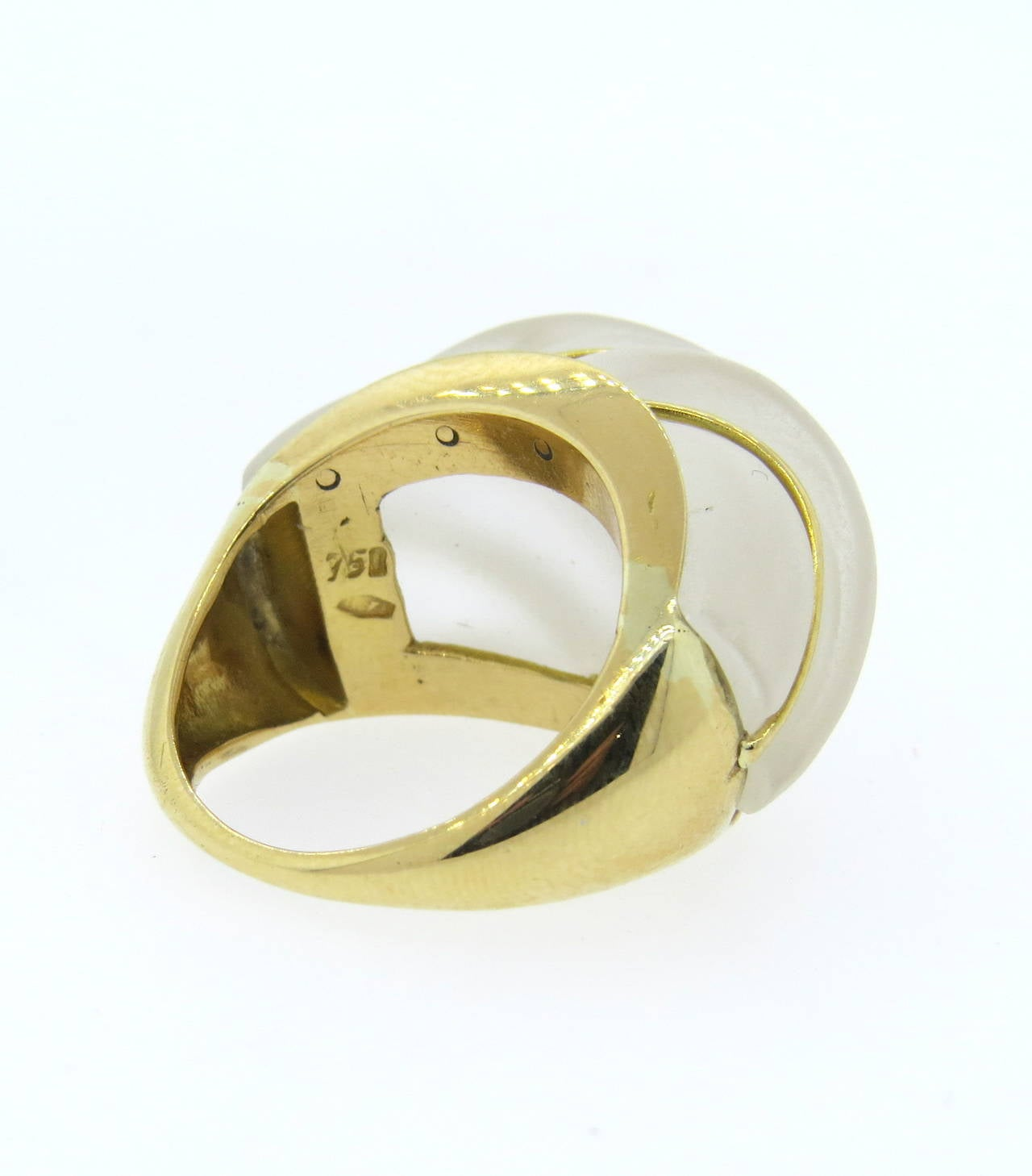 Frosted Crystal Gold Dome Ring In Excellent Condition For Sale In Lahaska, PA