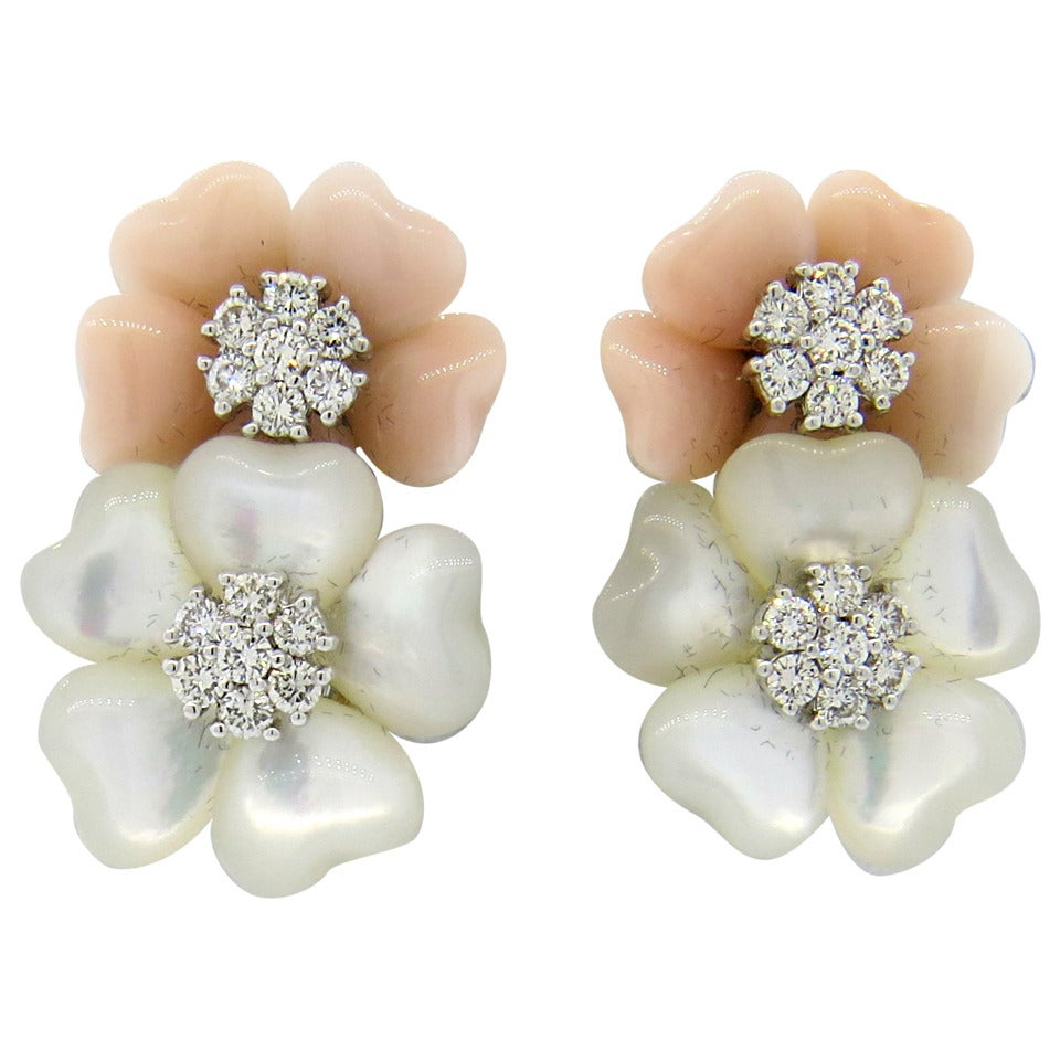 Adorable Coral And Mother Of Pearl Diamond Flower Earrings 1