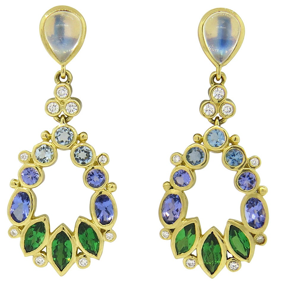 Temple St Clair Anima Diamond Moonstone Tsavorite Aquamarine Gold Earrings  1