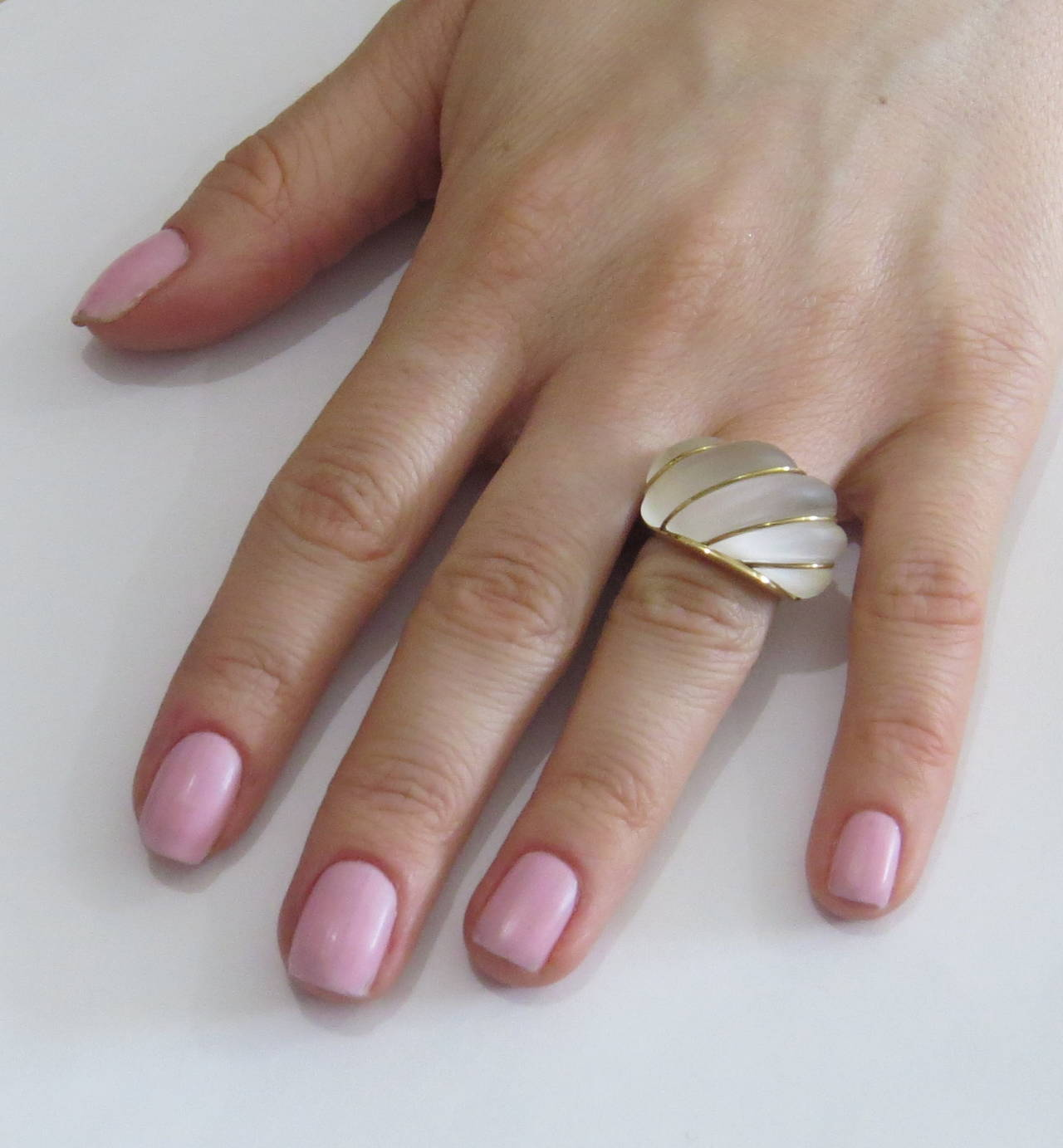 Women's Frosted Crystal Gold Dome Ring For Sale