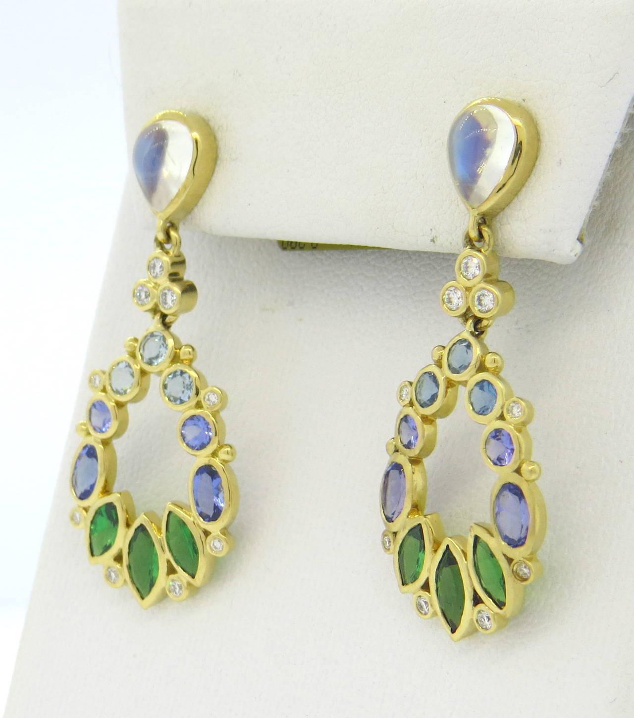 Temple St Clair Anima Diamond Moonstone Tsavorite Aquamarine Gold Earrings  2