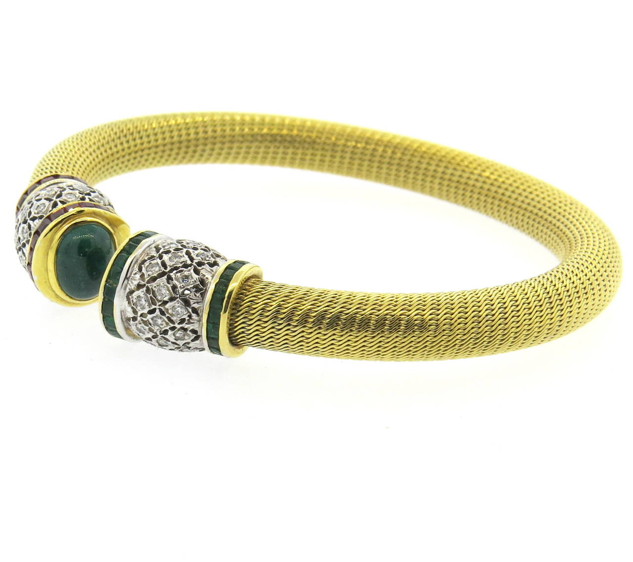 1980s Gold Diamond Ruby Emerald Open Cuff Bracelet 2