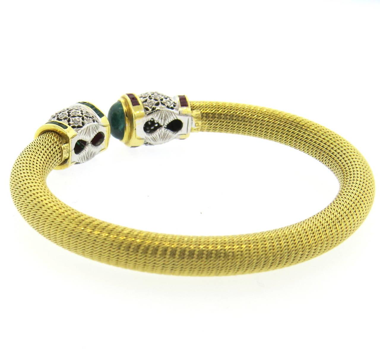 1980s Gold Diamond Ruby Emerald Open Cuff Bracelet 3