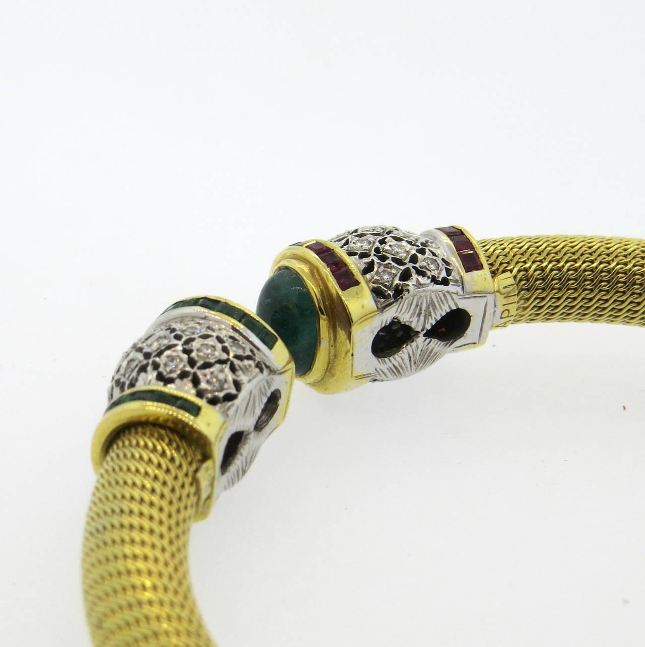 1980s Gold Diamond Ruby Emerald Open Cuff Bracelet 4