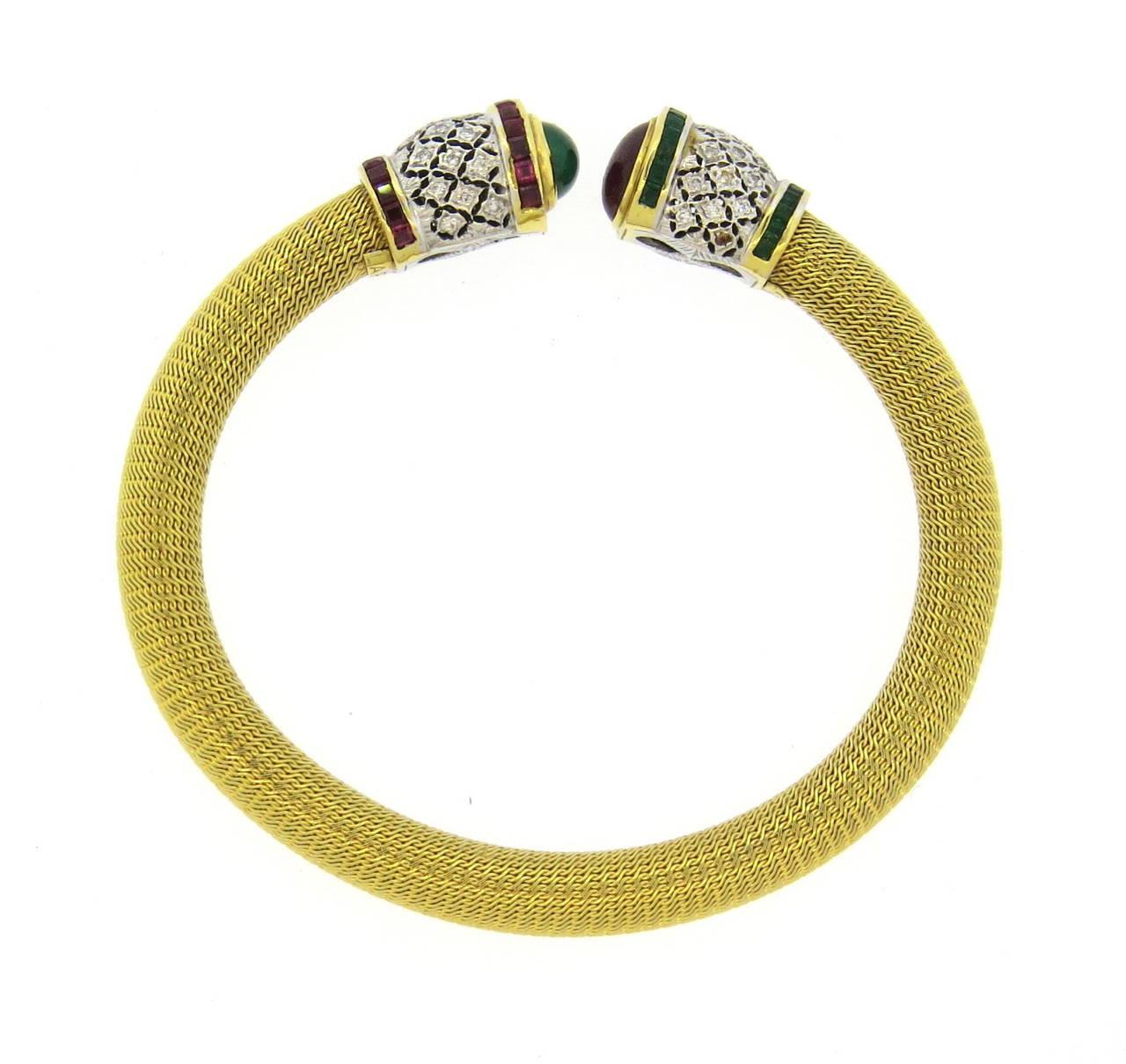1980s Gold Diamond Ruby Emerald Open Cuff Bracelet 5