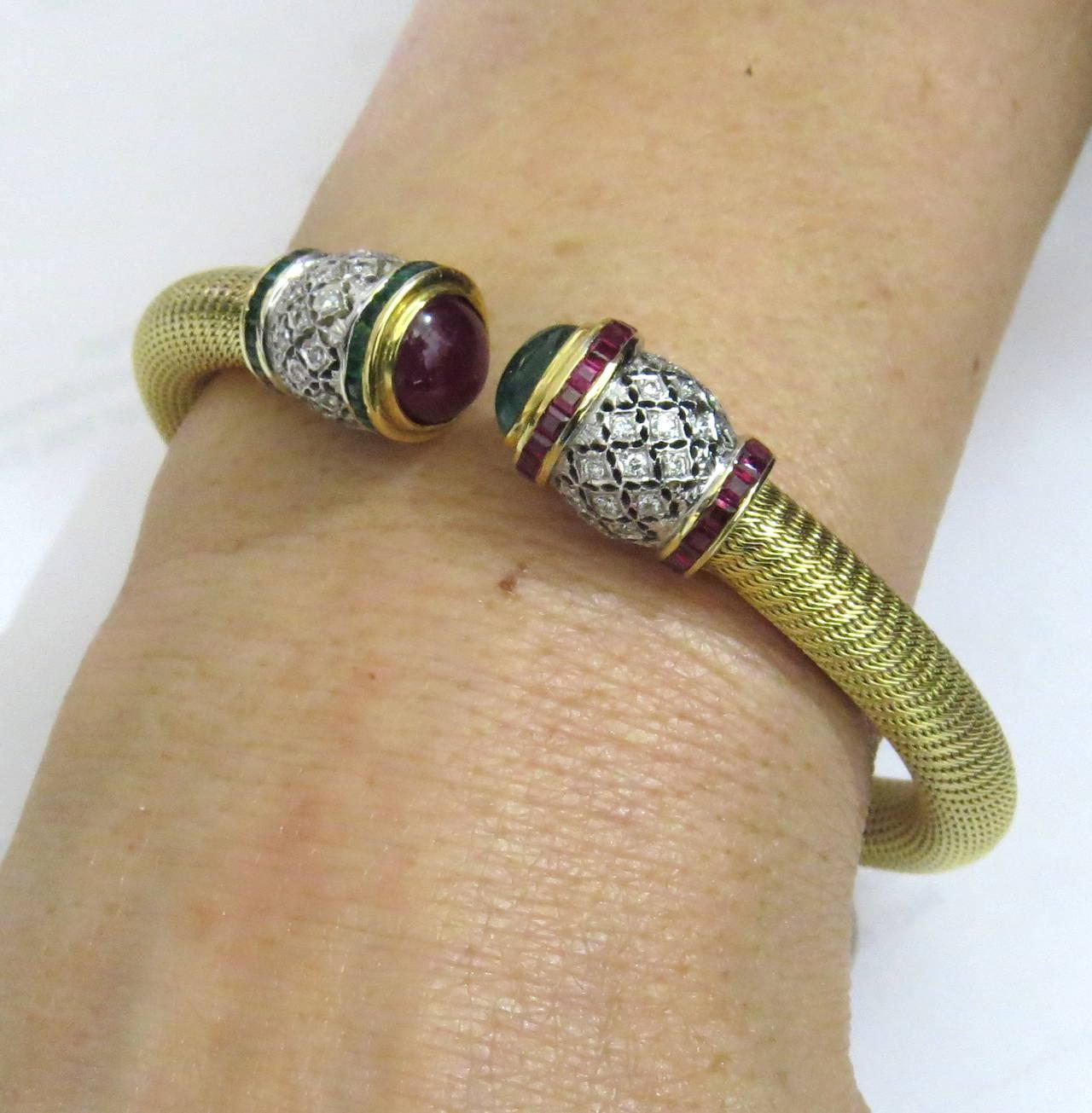 1980s Gold Diamond Ruby Emerald Open Cuff Bracelet 6