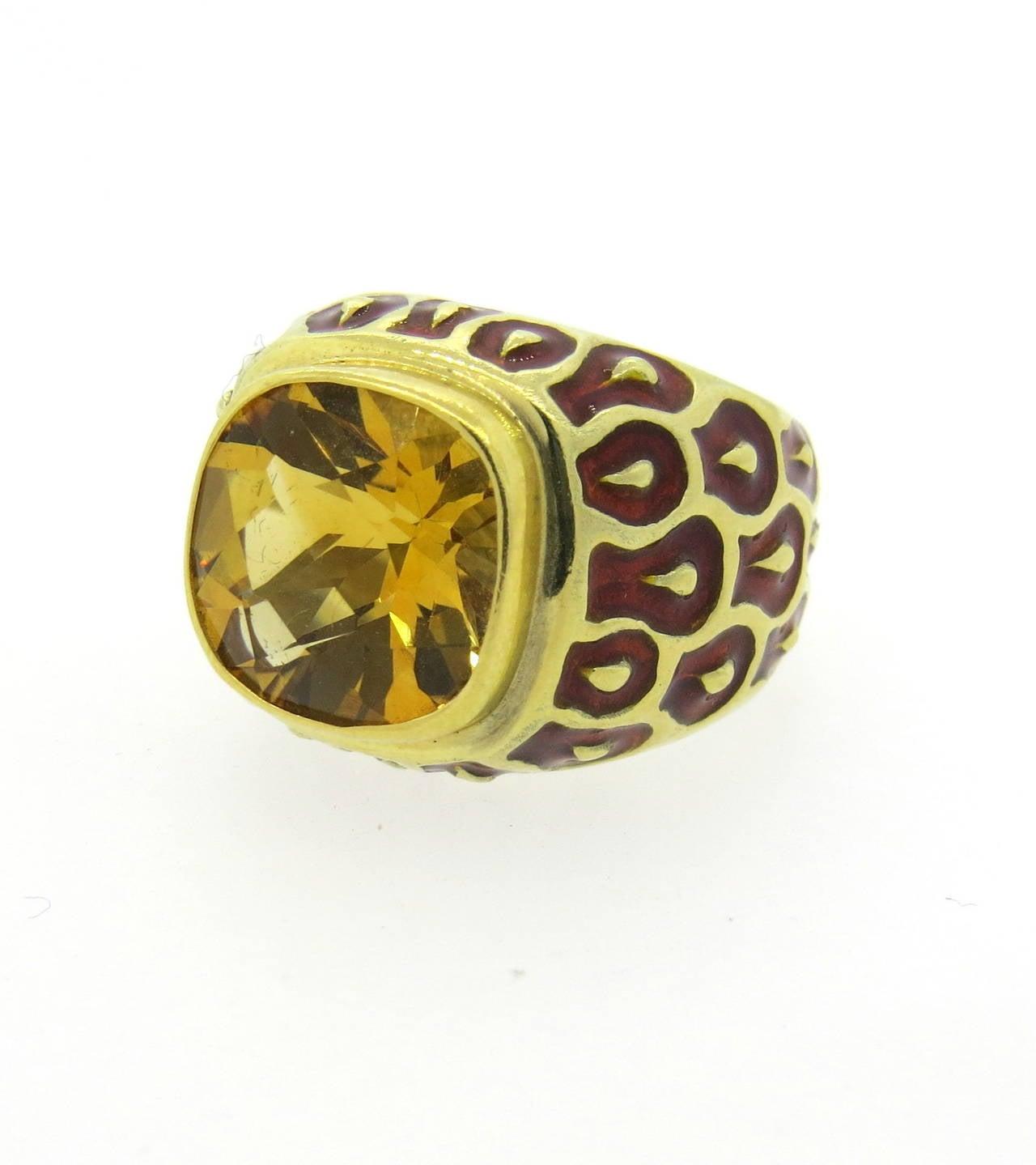 citrine enamel gold ring at 1stdibs