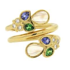 Temple St. Clair Anma Gold Moonstone Diamond Tanzanite Tsavorite Wrap Ring