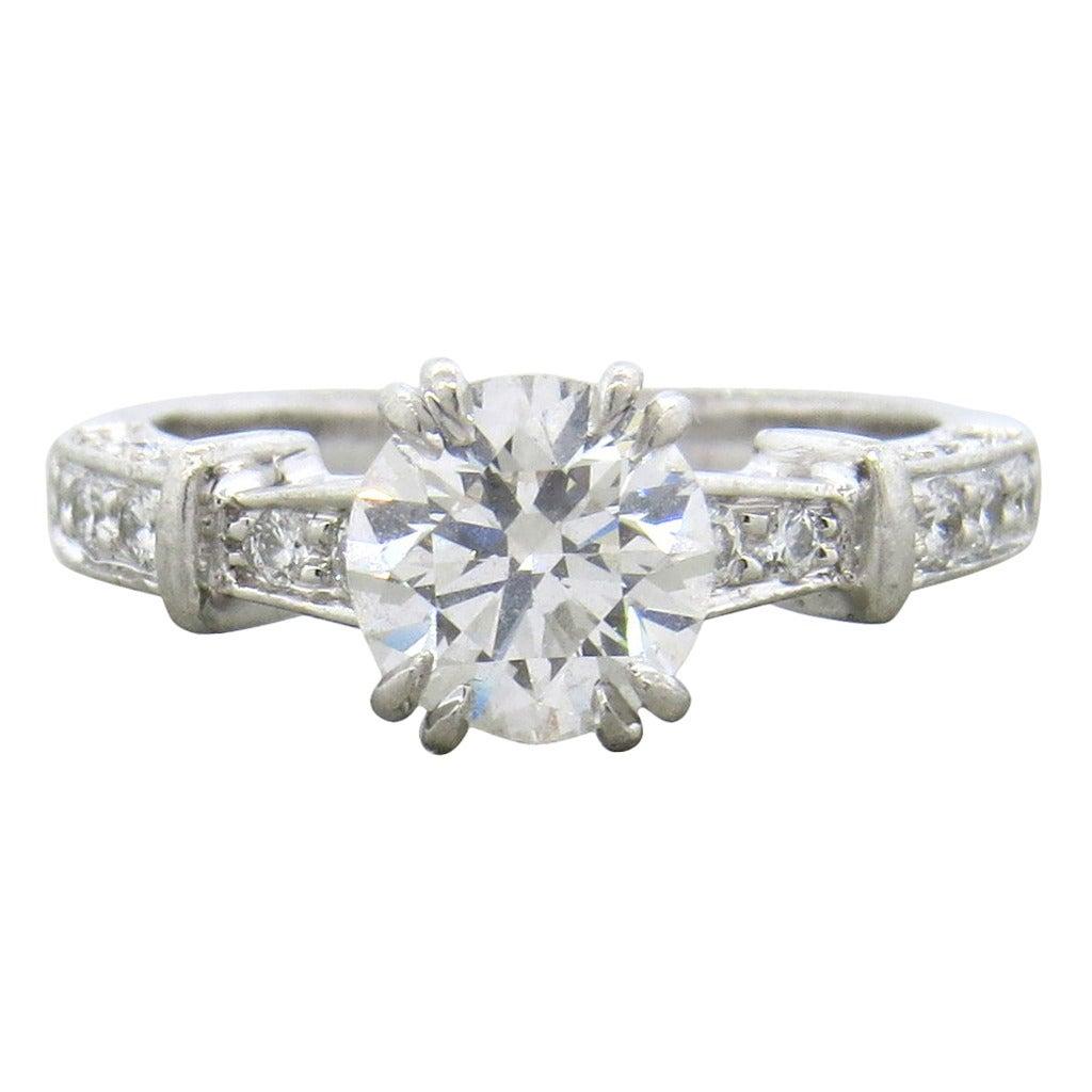 Harry Winston 1.12 Carat Diamond Platinum Engagement Ring ...