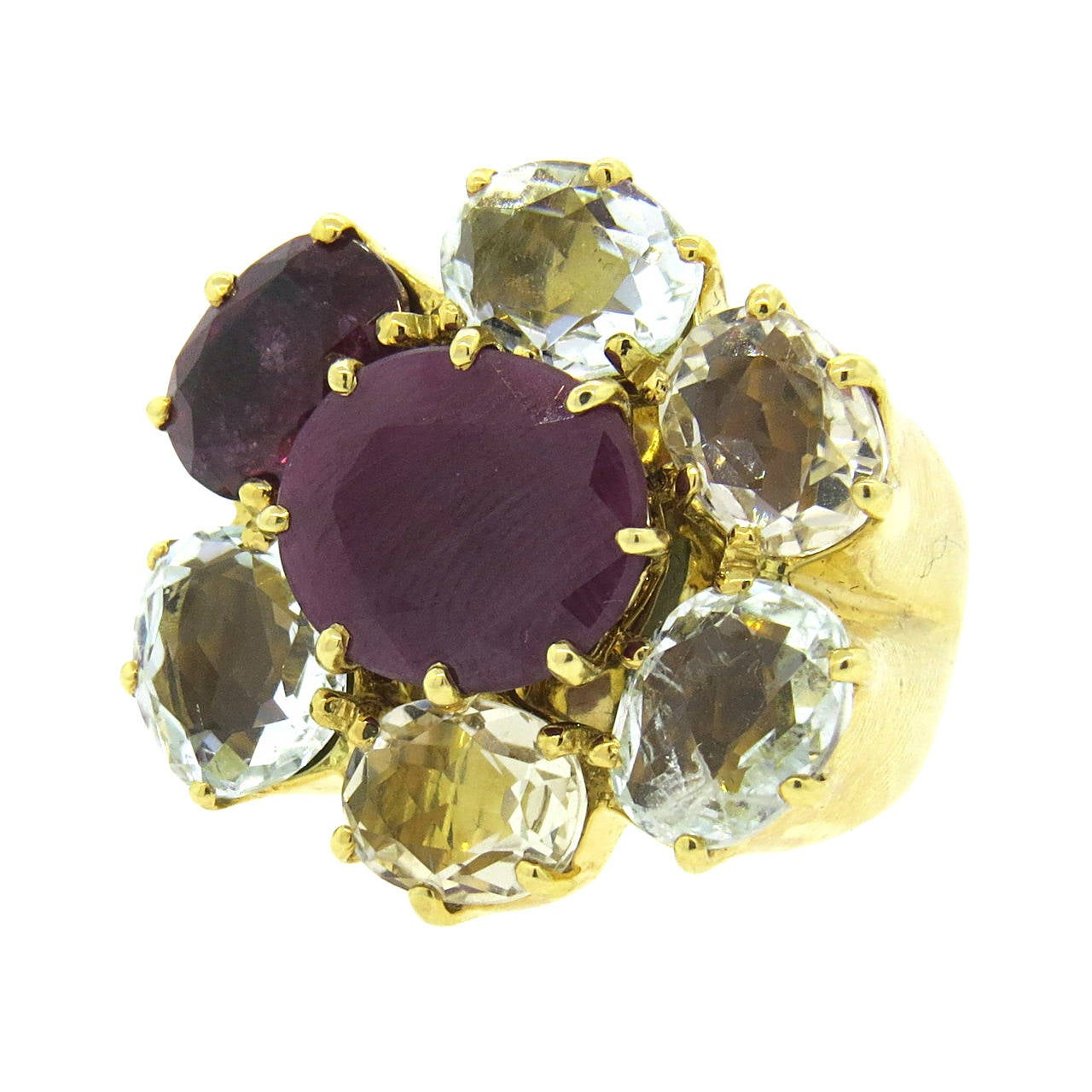 H Stern Diane Von Furstenberg Harmony Multicolor Gemstone Gold Ring