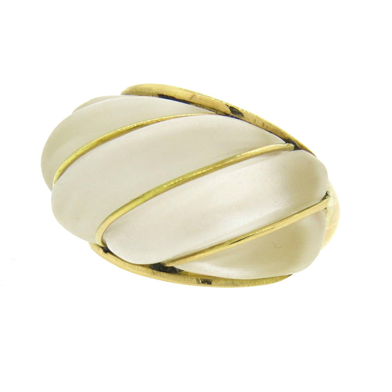Frosted Crystal Gold Dome Ring For Sale