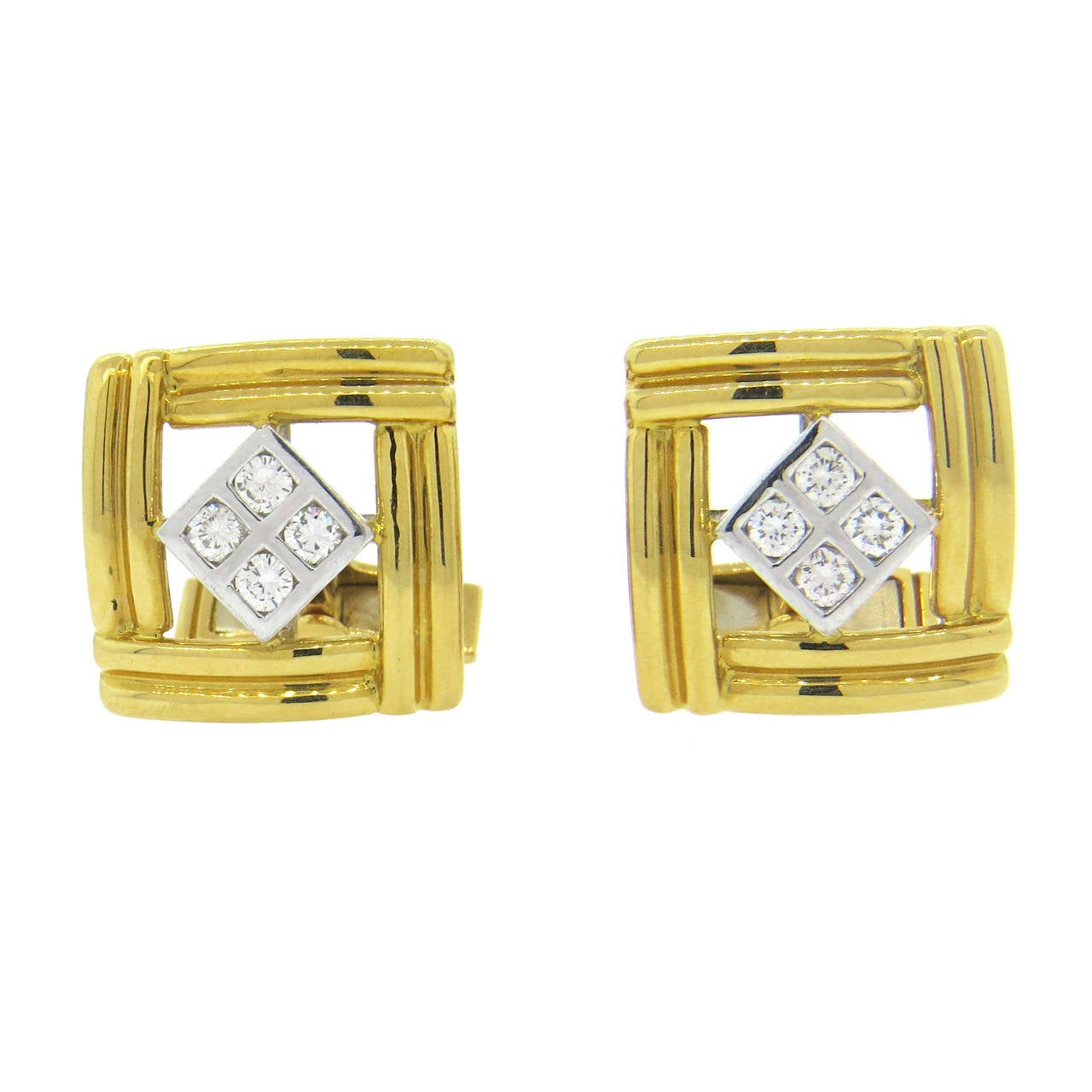 Diamond and Gold Cufflinks