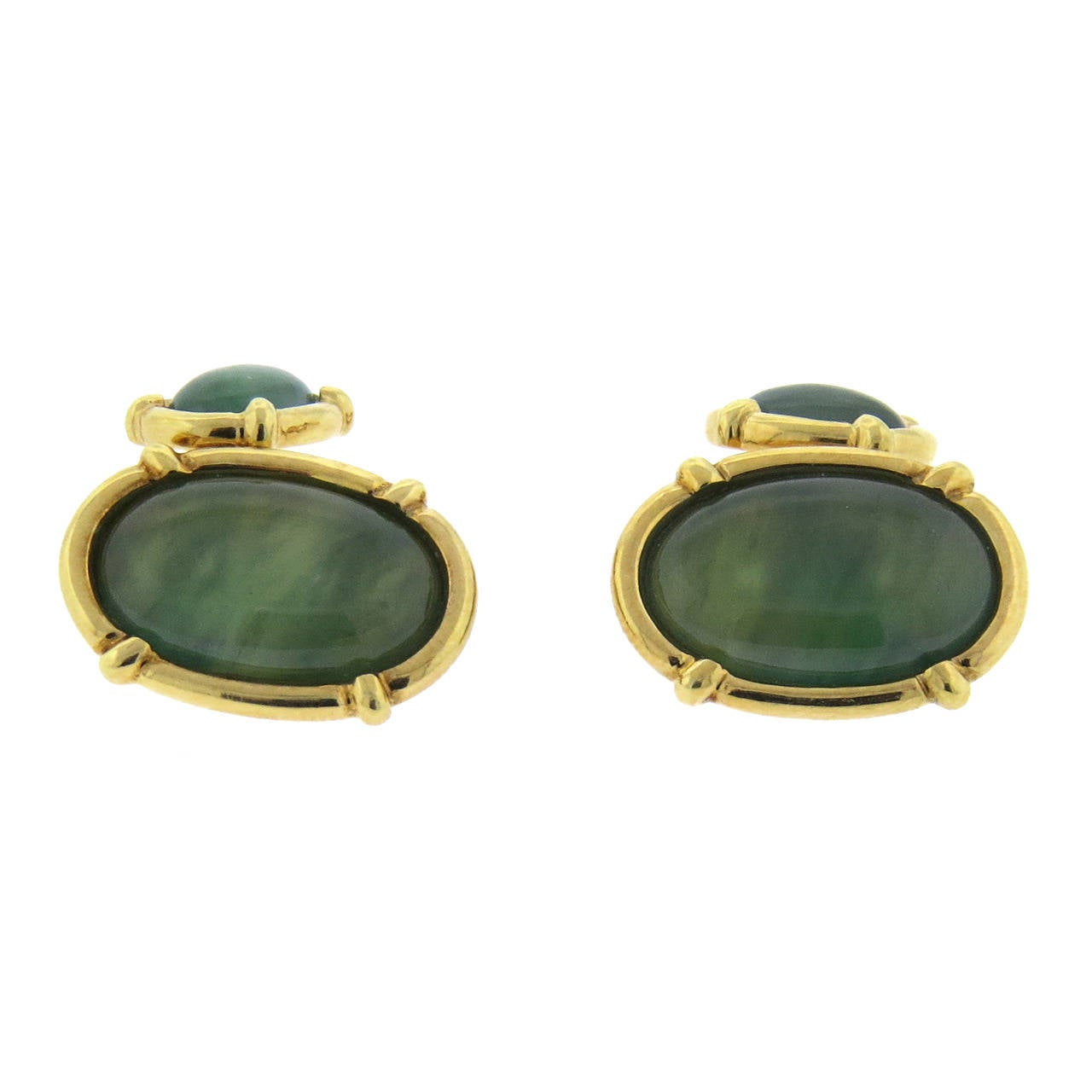 Oval Jade Gold Cufflinks