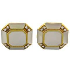 Diamond Mother of Pearl Gold Cufflinks