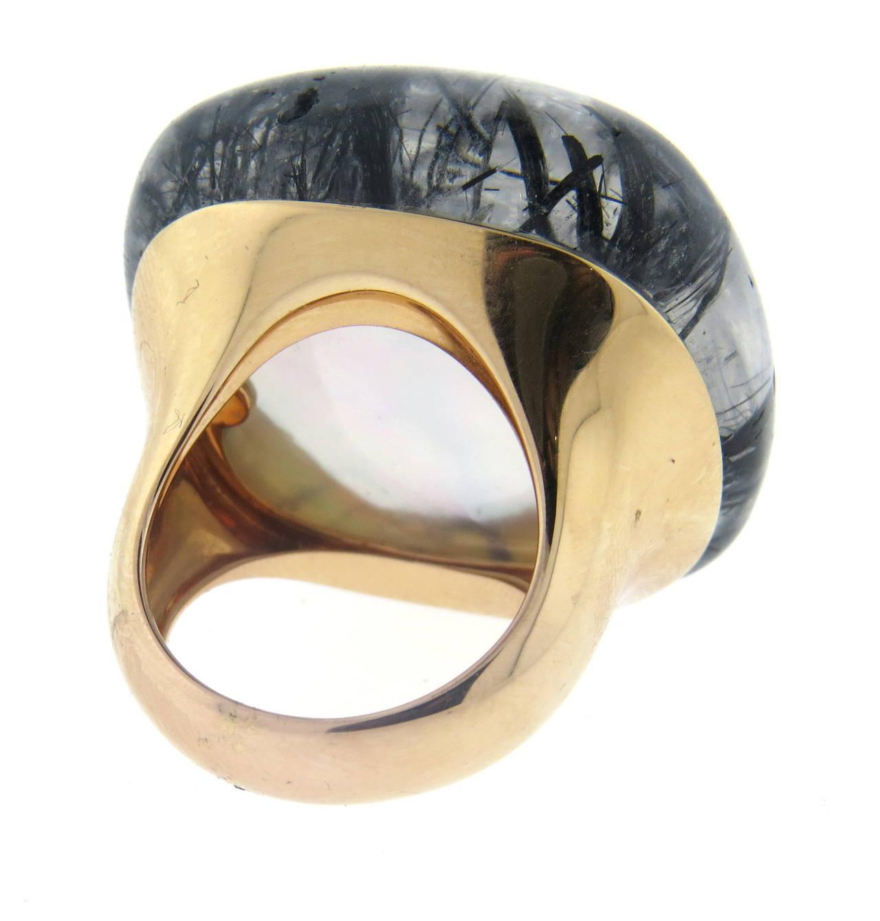 Large Modern Gold Rutilated Quartz Cocktail Ring At 1stdibs