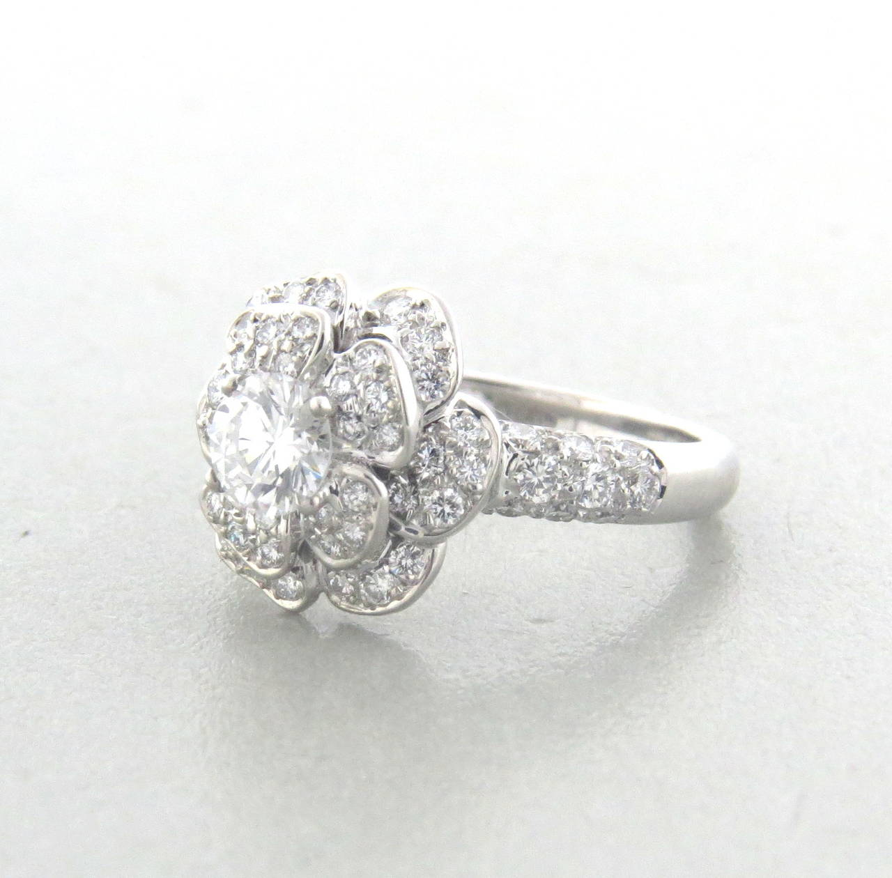 Chanel Camellia Diamond Gold Flower Engagement Ring at 1stdibs