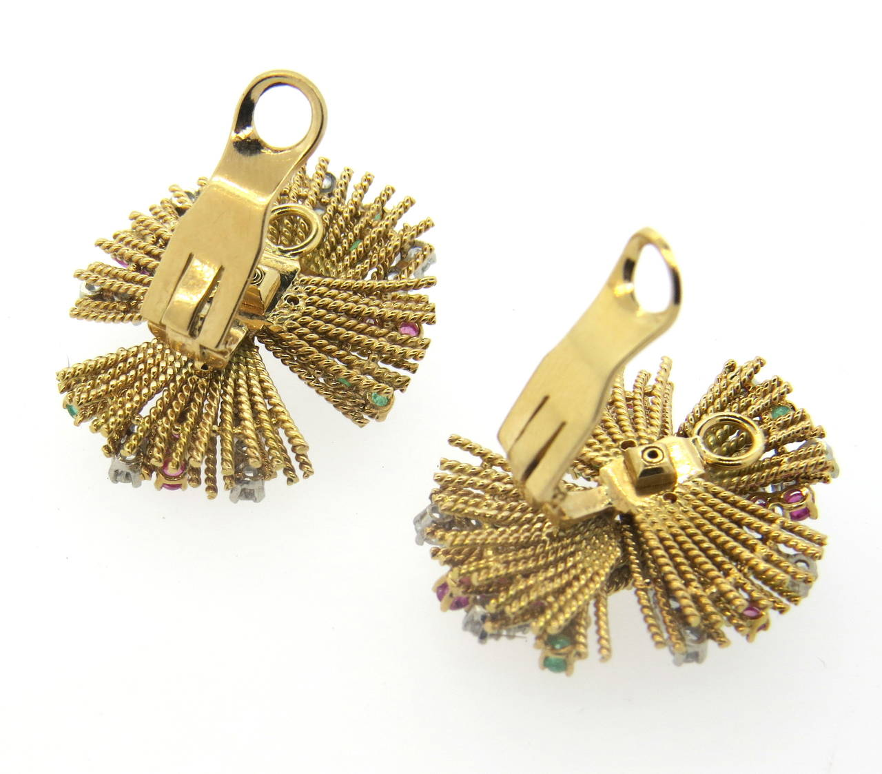 1950s gold ruby emerald earrings at 1stdibs