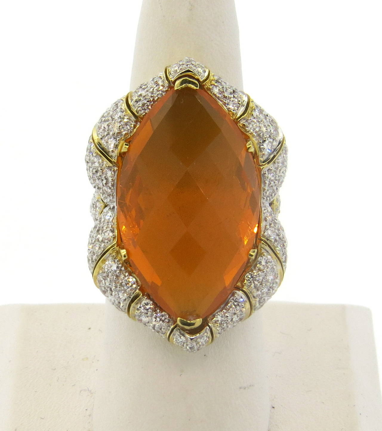 Impressive Mexican Fire Opal Diamond Gold Cocktail Ring 4