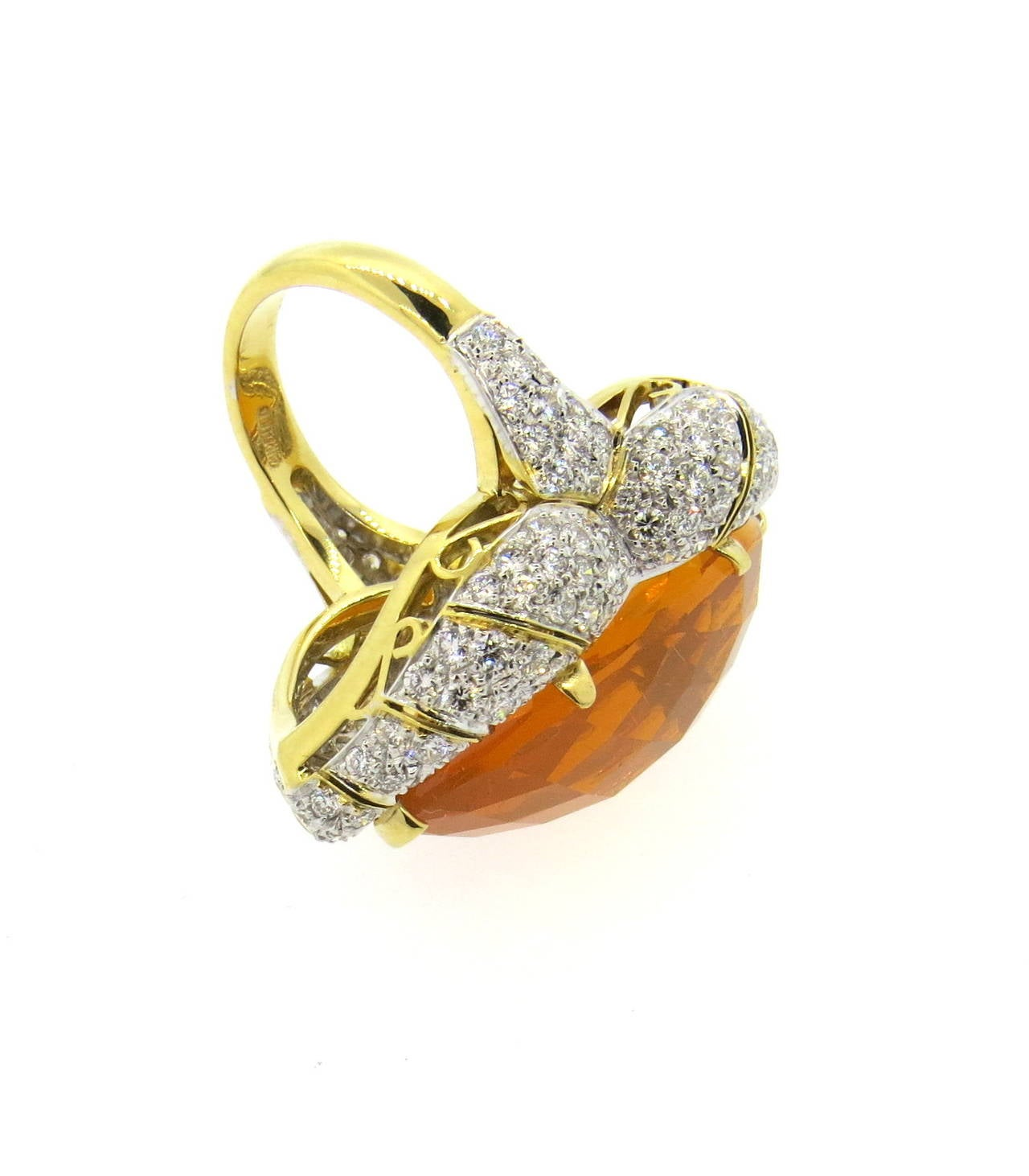 Impressive Mexican Fire Opal Diamond Gold Cocktail Ring 2