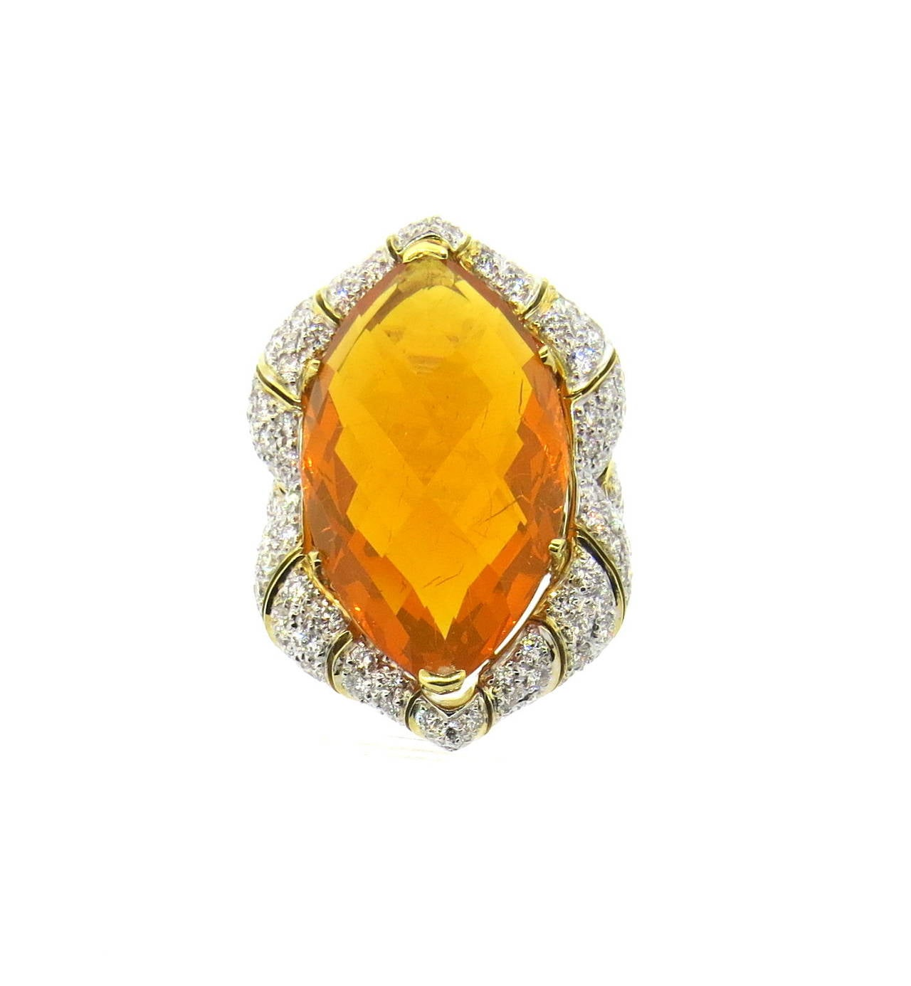Impressive Mexican Fire Opal Diamond Gold Cocktail Ring 3