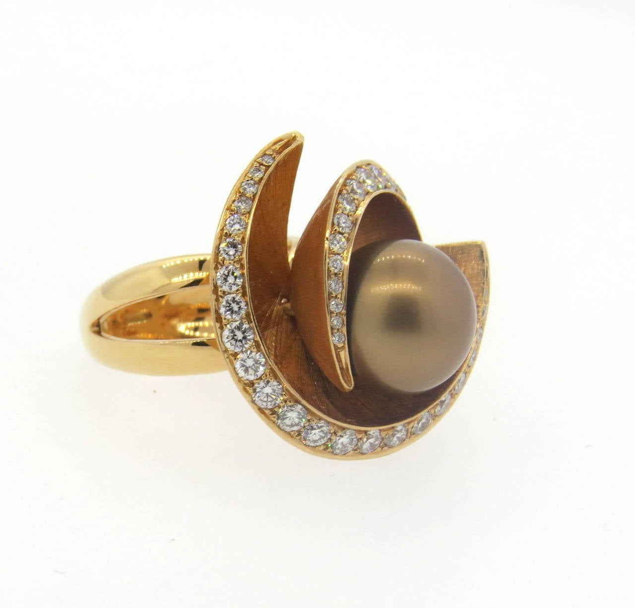 italian pearl gold cocktail ring at 1stdibs