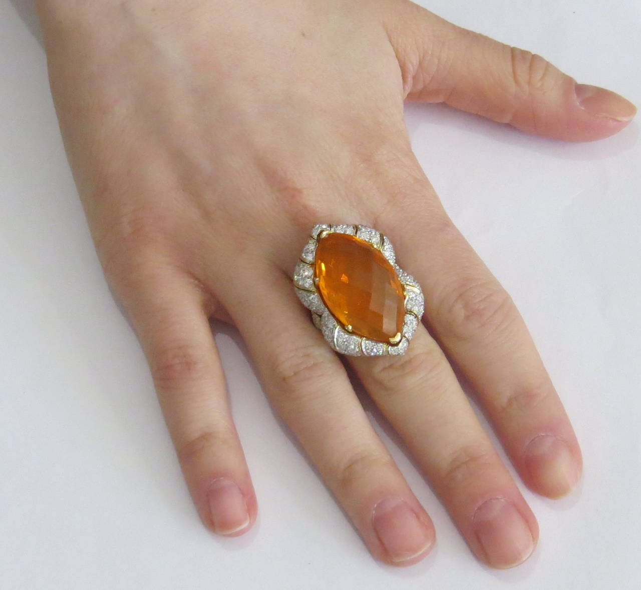 Impressive Mexican Fire Opal Diamond Gold Cocktail Ring 5