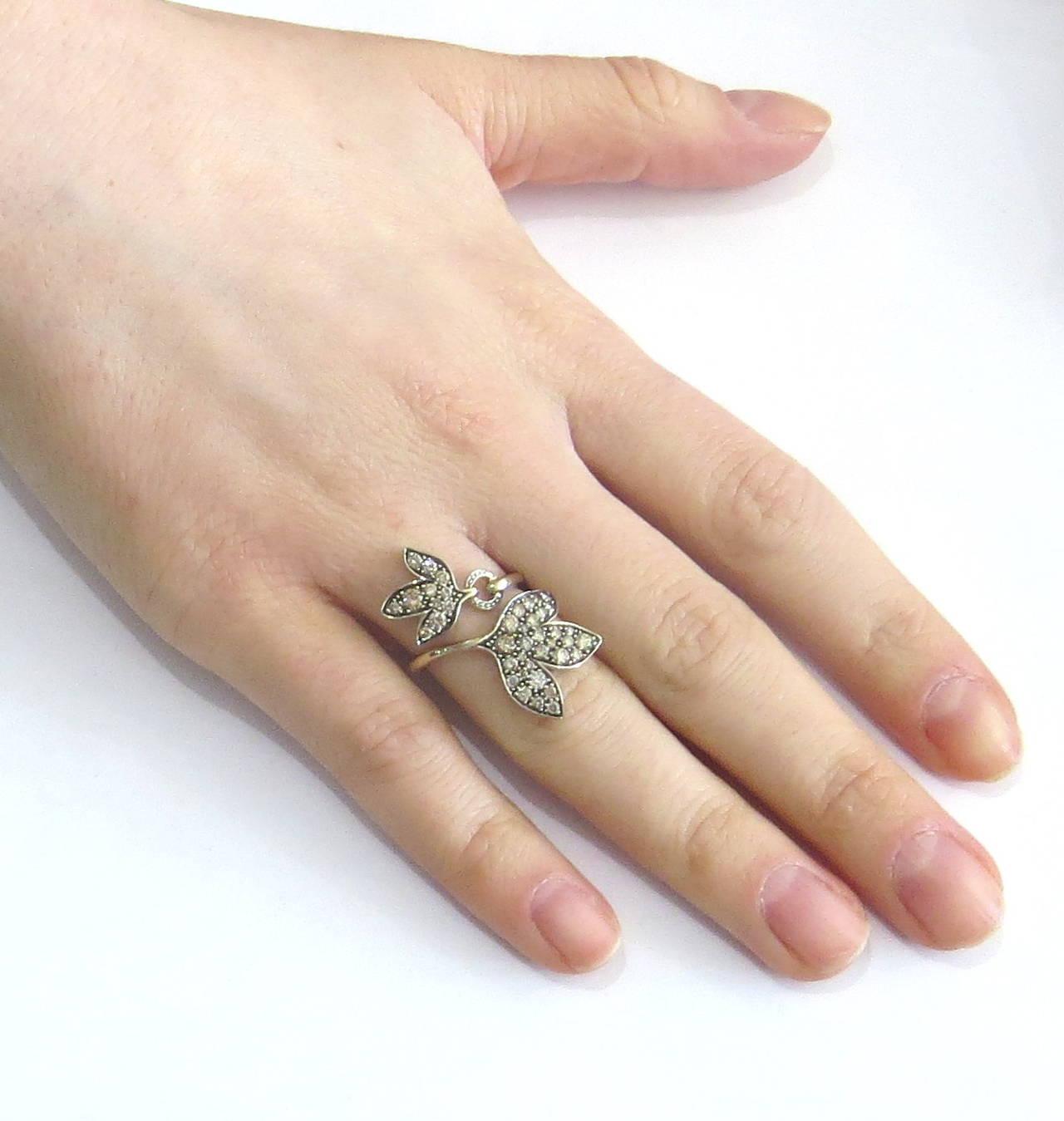 H Stern Hera Leaf Bypass Gold Fancy Diamond Ring at 1stdibs