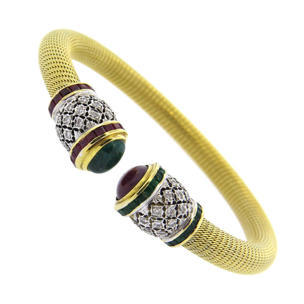 1980s Gold Diamond Ruby Emerald Open Cuff Bracelet 1