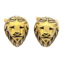 Diamond Enamel Gold Lion Head Cufflinks