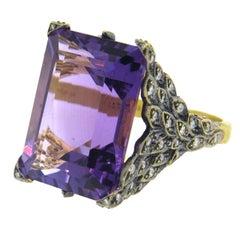 Cathy Waterman Peacock Amethyst Diamond Gold Ring