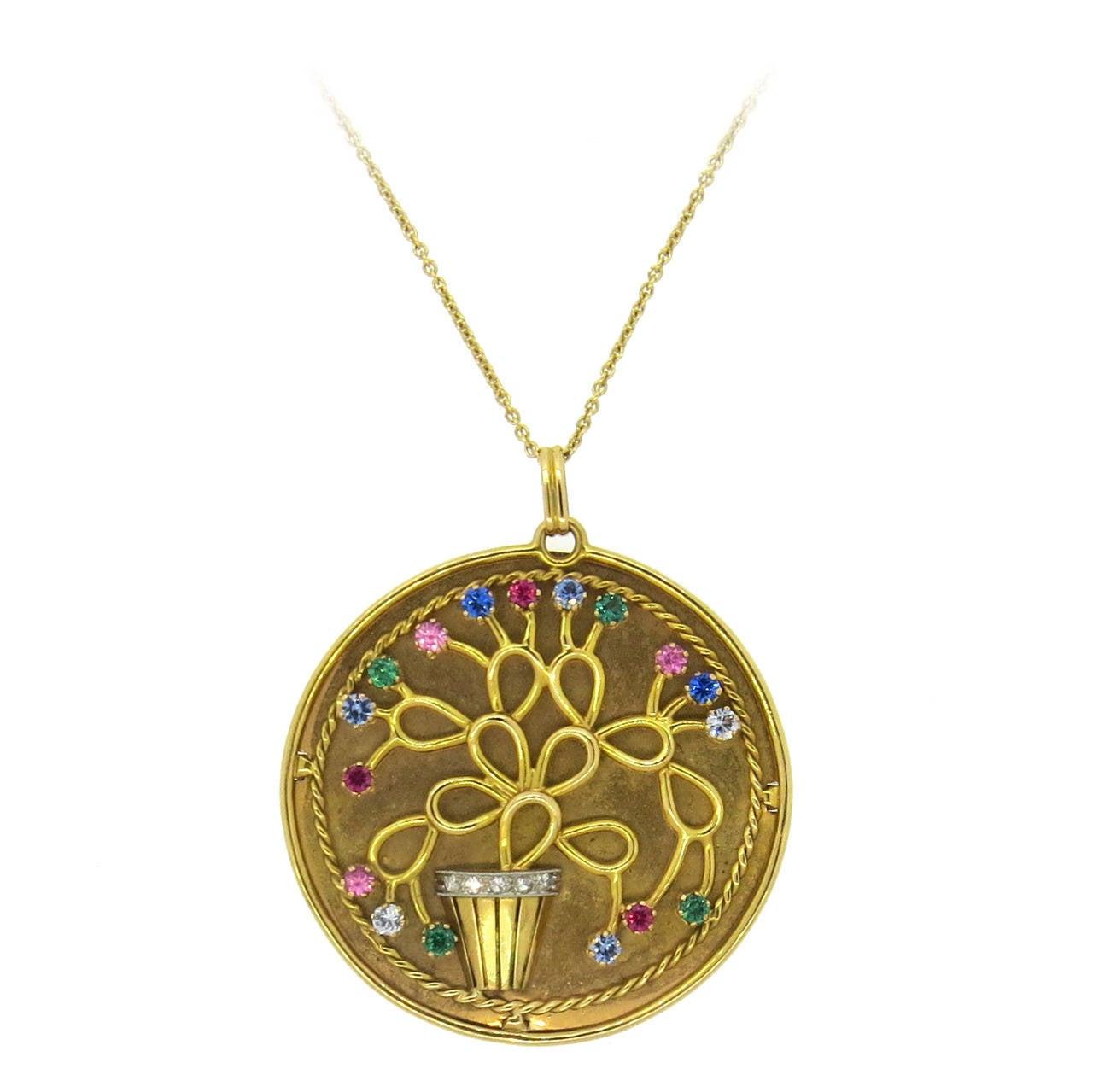 retro gold multicolor gemstone large pendant