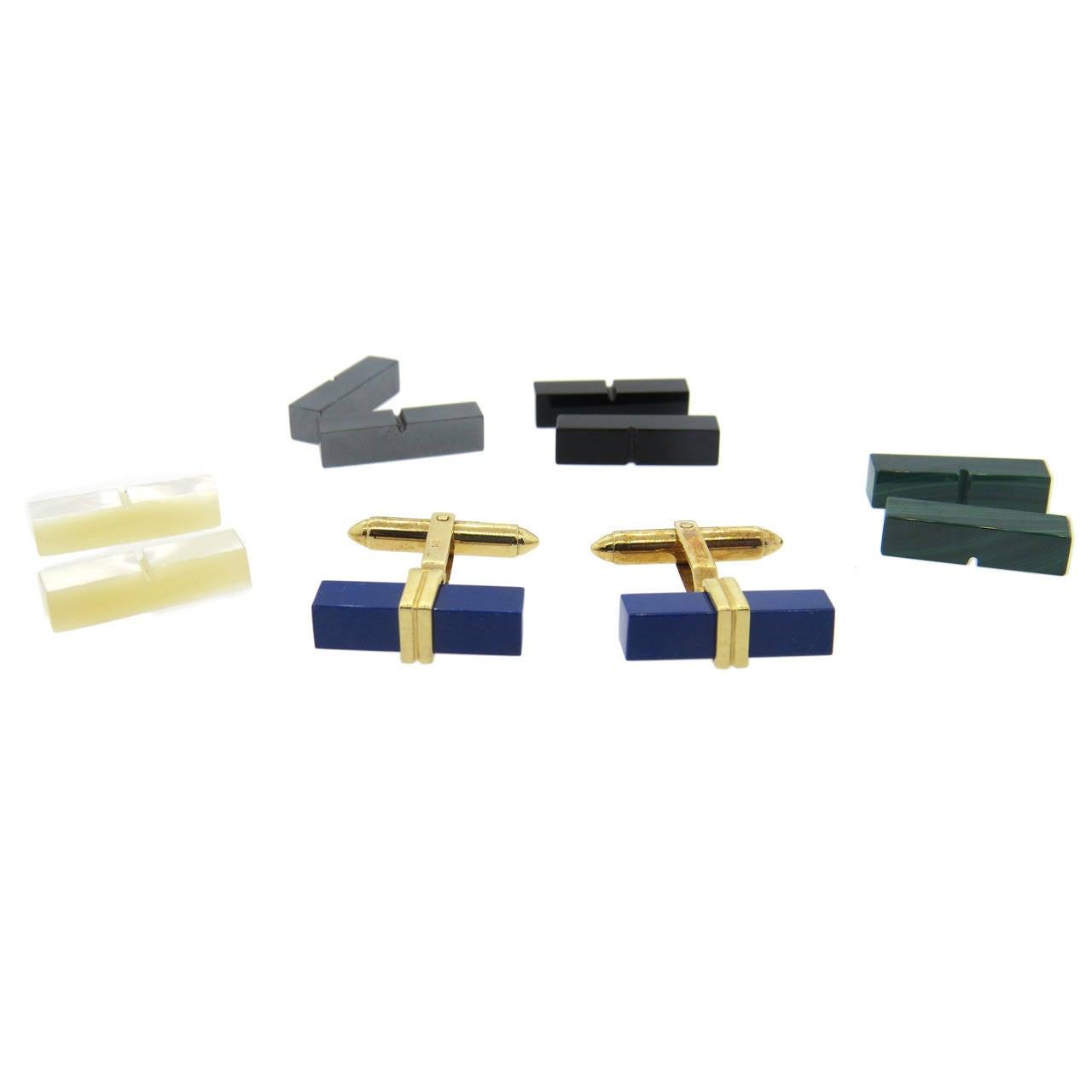Lapis Malachite Onyx Hematite Gold Interchangeable Cufflinks