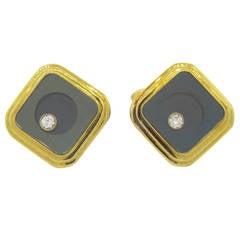 Floating Diamond Gold Cufflinks