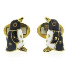 Hidalgo Gold Enamel Penguin Cufflinks