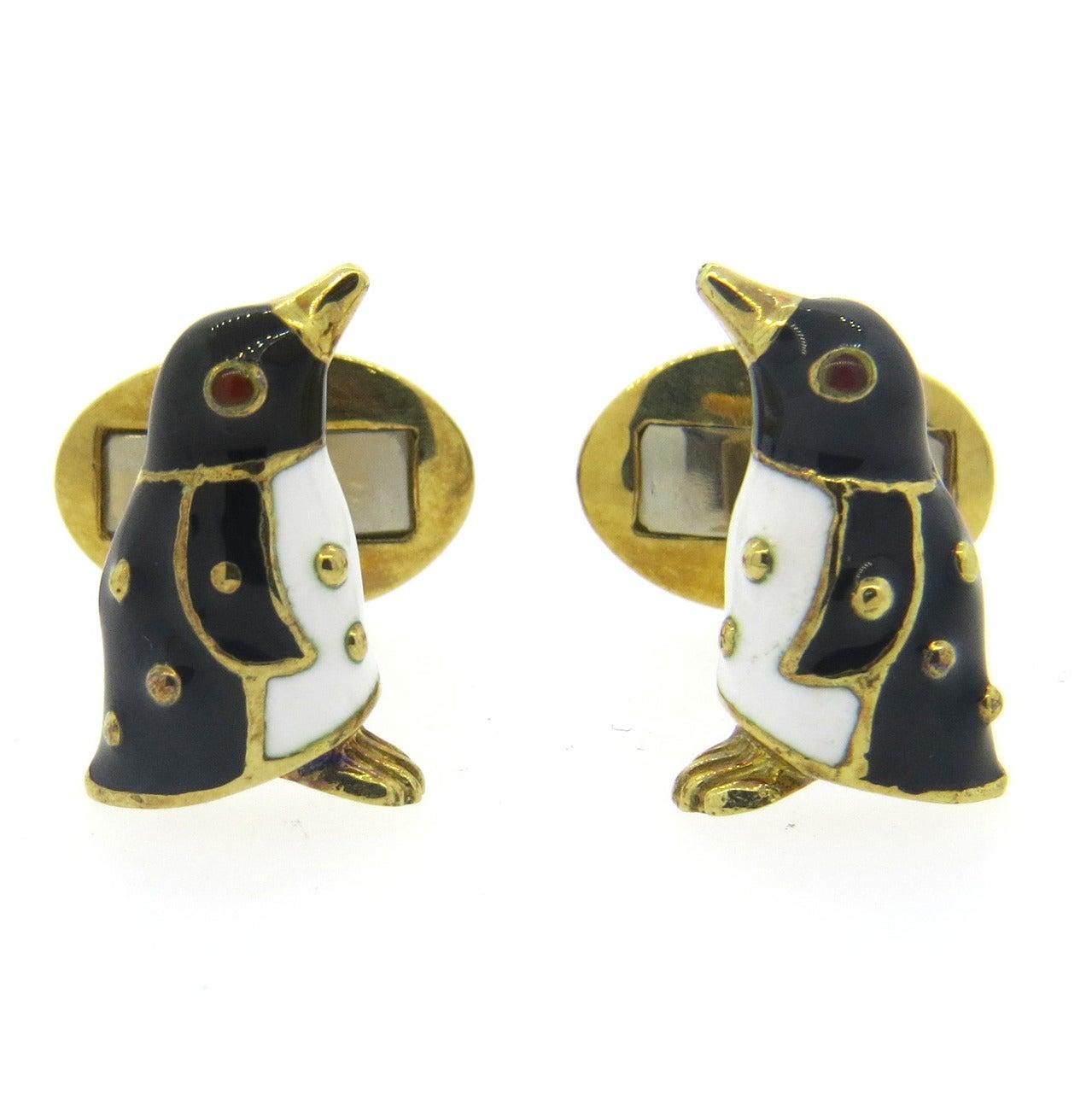 Hidalgo Gold Enamel Penguin Cufflinks For Sale