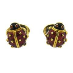 Hidalgo Red Enamel Garnet Gold Ladybug Cufflinks
