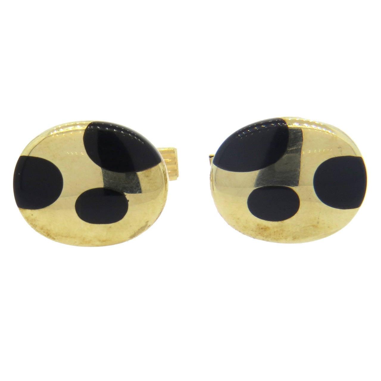 Onyx Inlay Gold Oval Cufflinks