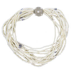 Trianon Multi Strand Pearl Necklace with Frosted Crystal Sapphire Gold Clasp