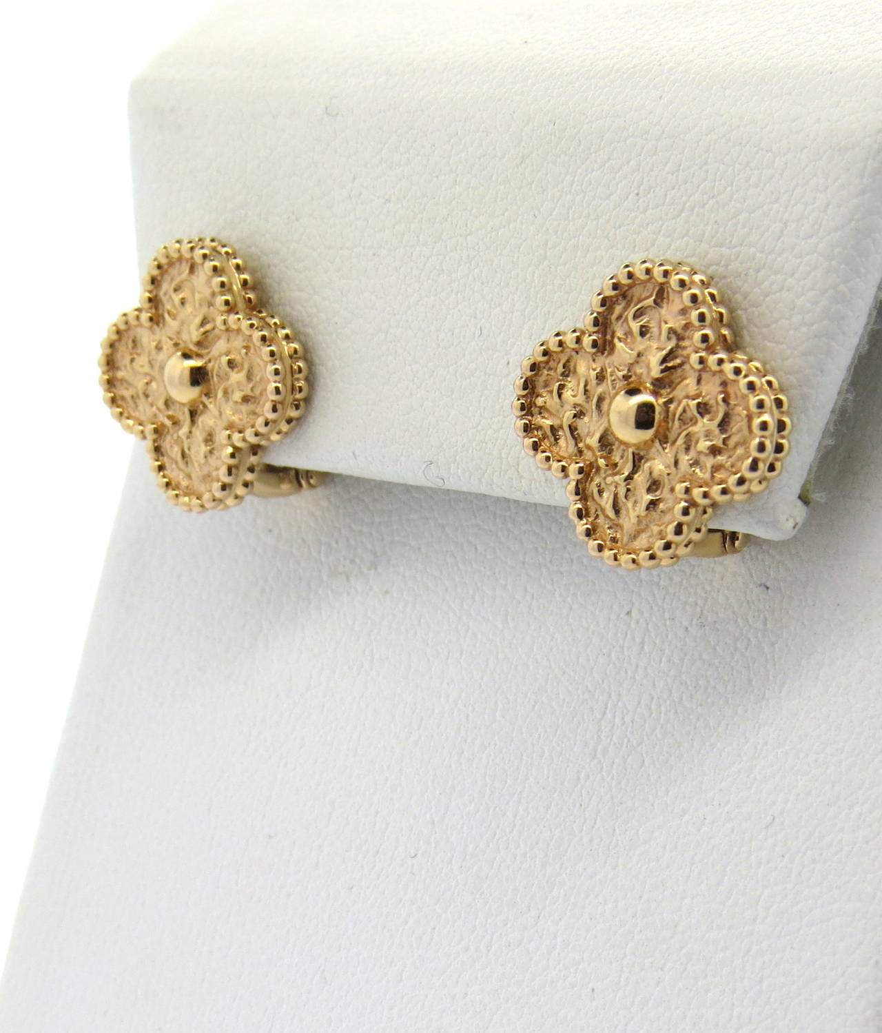f68c0c7ecb Van Cleef   Arpels Vintage Alhambra Gold Earrings In Excellent Condition  For Sale In Lahaska