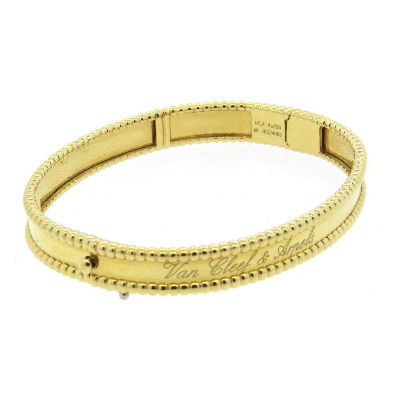 Van Cleef And Arpels Perlee Signature Gold Bangle Bracelet