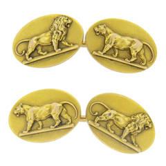 Antique Gold Lion Lioness Cufflinks