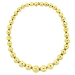 Antique Gold Ball Bead Necklace