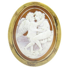 Antique Gold Shell Cameo Brooch Pin Pendant