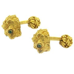 David Webb Cabochon Emerald Gold Lion Cufflinks