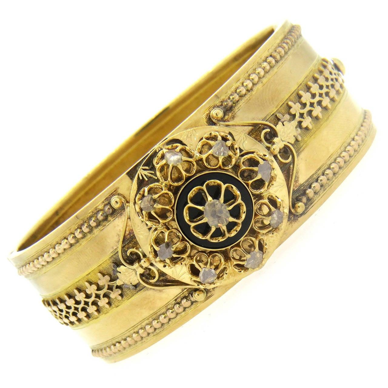 Antique Victorian Diamond Gold Bangle Bracelet At 1stdibs
