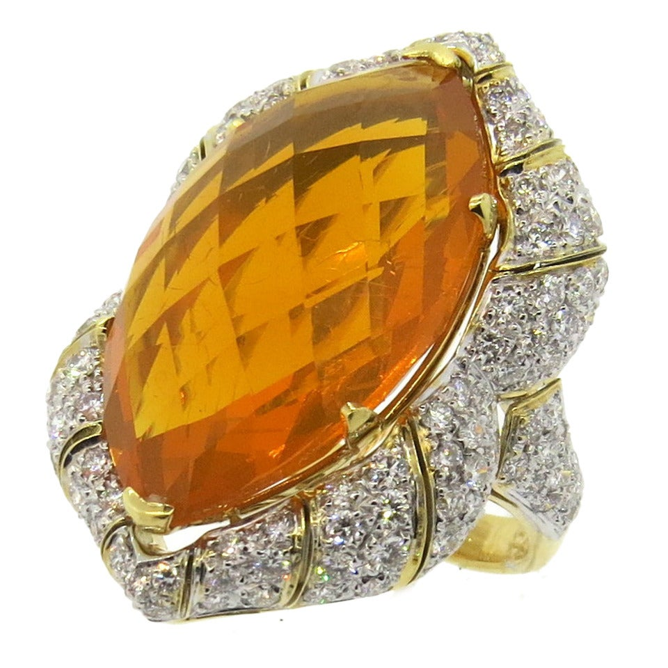 Impressive Mexican Fire Opal Diamond Gold Cocktail Ring 1