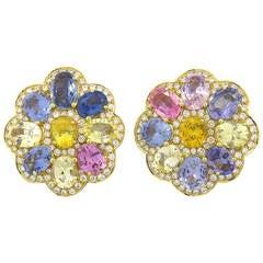 Whimsical Multi-Color Sapphire Diamond Gold Earrings