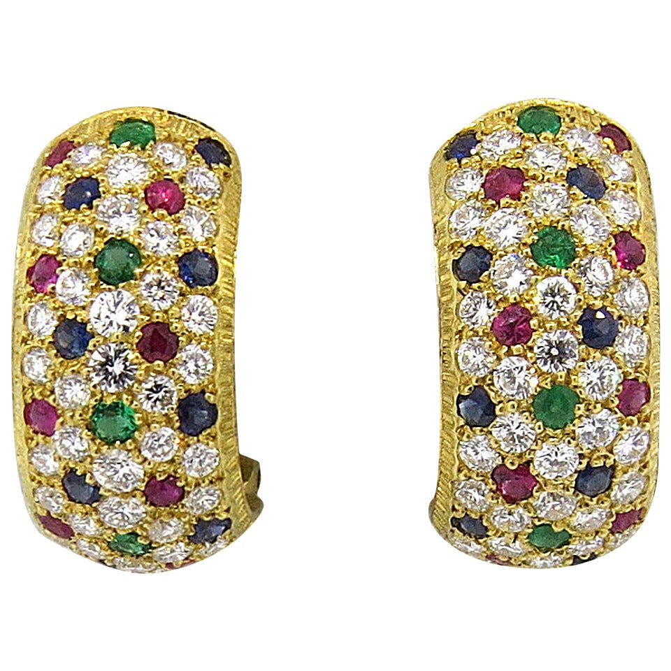 Buccellati Sapphire Emerald Ruby Diamond Gold Earrings